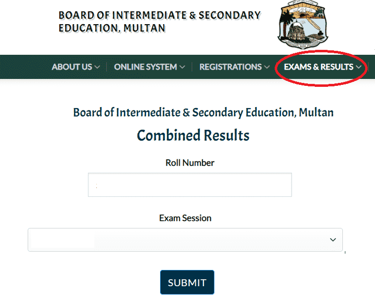 Search Multan Board Result By Name and Roll Number 2021
