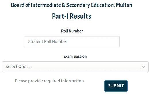 Search Multan Board 11th Class Result 2021 Online