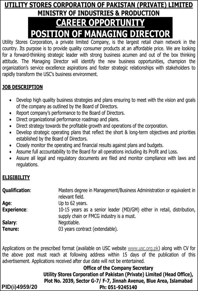 Usc Pakistan Jobs 2021 Advertisement Paper Pk New Latest Free Job Alert